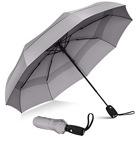 Repel Umbrella Windproof Travel Umbrella with Teflon Coating (Gray)