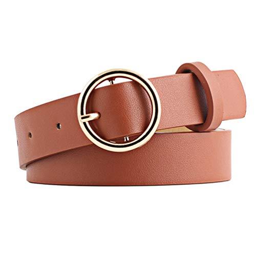 NUREINSS Cinturón de piel para mujer con hebilla redonda, 2,6 cm de ancho marrón Talla única