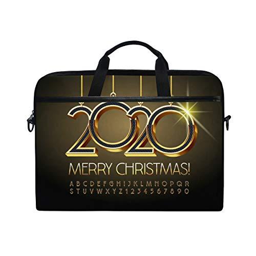 LZXO Laptop-Tasche 38,1 cm Aktentasche Merry Christmas Zitat Wort Laptop Schulter Messenger Bag Tragetasche Handtasche Schule Computer Tasche für Männer Frauen Schule