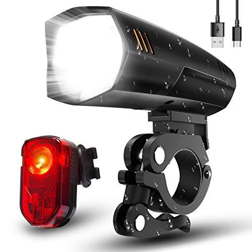 LIFEBEE Fahrradlicht, Led Fahrradlicht Set Fahrradbeleuchtung USB Fahrradlicht Vorne Rücklicht Fahrradlampe Led Set, Wasserdicht Fahrrad Licht mit 2 Licht-Modi für Mountainbike (Black)
