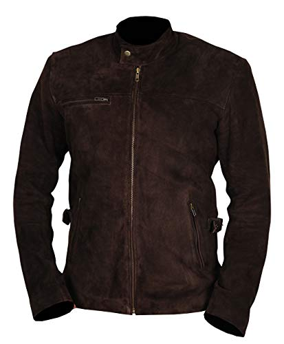 Mens Brown Genuine Suede Leather Jacket - Cafe Racer Mens Motorcycle Suede Jacket (XL/Body Chest 44