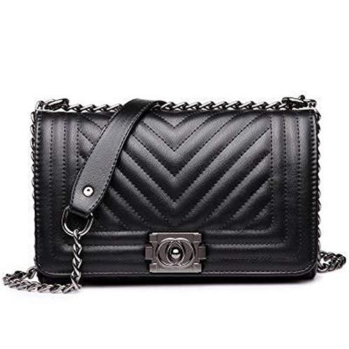 Lente en zomer handtas keten bag kleine geurende wind Lingge V-Freaky schoudertas Messenger bag,Black,L