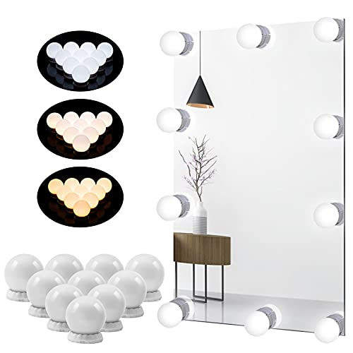 LED sminkspegellampor, Hollywood-spegellampor för toalettbord, nya USB-makeuplampor med beröringssensordimmeromkopplare, 10-nivåers justerbar ljusstyrka och 3 färgförändringar, 10 glödlampor