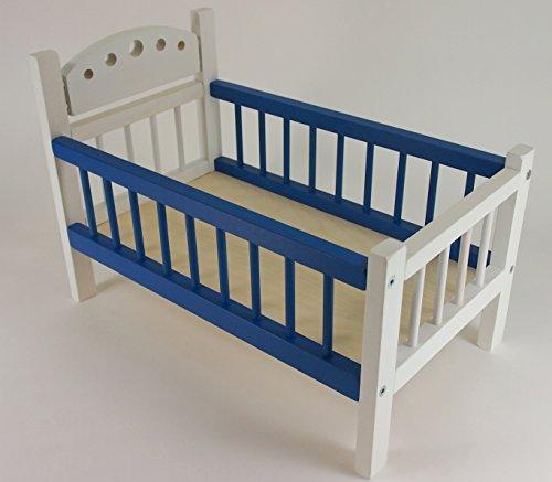 PPHU Puppenbett blau/weiß aus Holz mit weiß/bunter Bettwäsche 44cm x 26cm x 24cm