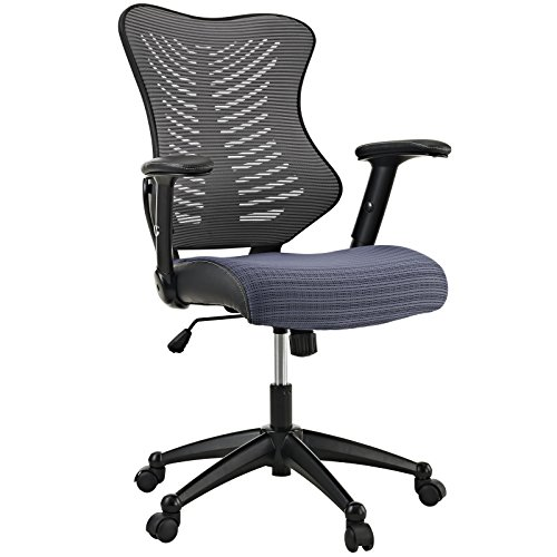 Modway Clutch Ergonomic Mesh Computer Desk Office Chair in Gray