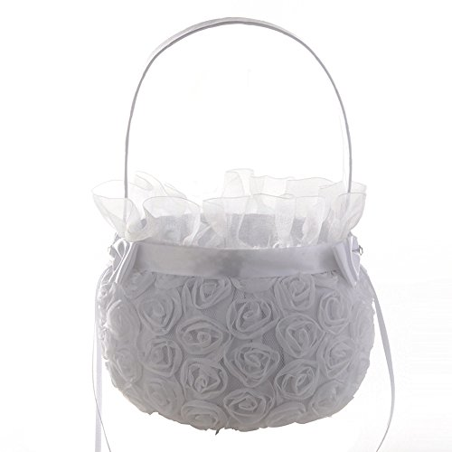 Fineday New Romantic Bowknot Silk Cloth Wedding Ceremony Party Rose Flower Girl Basket, Home Decors for Christmas New Year (White)