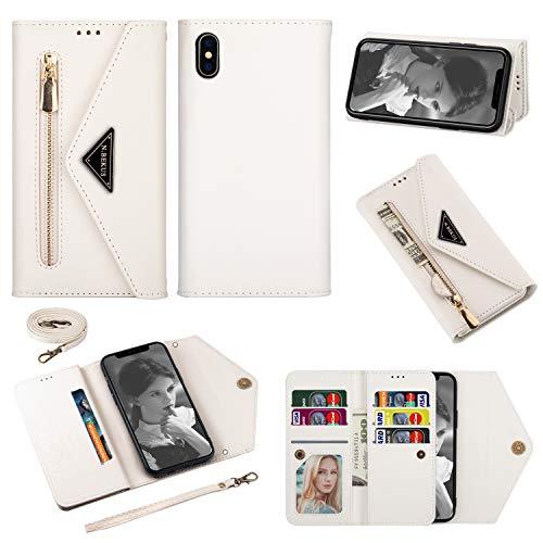 Snow Color iPhone XS/iPhone X Hülle, Premium Leder Tasche Flip Wallet Case [Standfunktion] [Kartenfächern] PU-Leder Schutzhülle Brieftasche Handyhülle für Apple iPhone XS/X - COCSJ040053 Weiß