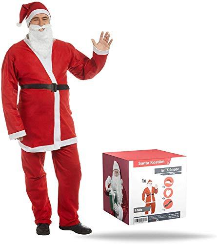 TK Gruppe Timo Klingler XXL Weihnachtsmann Set - Nikolaus Verkleidung Nikolauskostüm Weihnachtsmannkostüm Kostüm mit Bart, Gürtel, Mütze für Unisex Erwachsene (5X Stück)