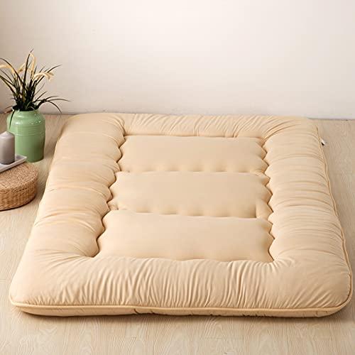 Colchón de futón Espuma de memoria Rollo de cama plegable Silla de salón para acampar Sofá Funda de cojín Tatami grueso doble Cama de invitados Alfombra de piso tamaño king japonés,Camel,35.4×78.7×4in