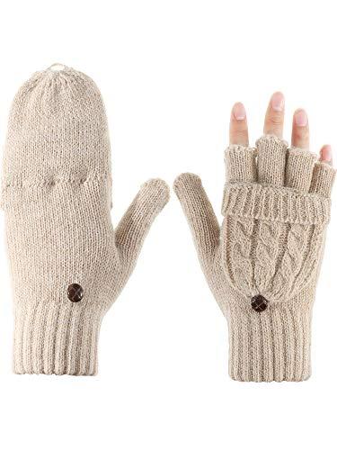Tatuo Guantes Convertibles Guantes de Punto de Cable Manoplas de Mitad de Dedos con Cubierta para Días Frías (Albaricoque)