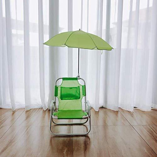 Dalovy Transat Bains Chaises de Camping Confortables Chaise Pliante en Plein Air Loisirs Accoudoir Plage pour Enfants avec Parapluie Pieds Courts Portable, Vert