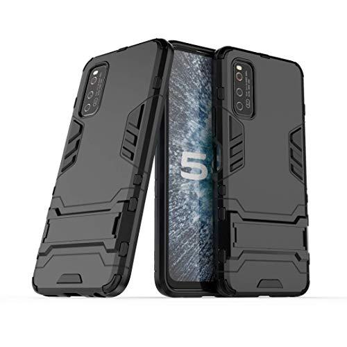 NH Funda Vivo iQOO Neo 3 Shockproof Carcasa 360 Grados Protective + [Protector Pantalla 2 Piezas] Hard PC y Silicona TPU Kickstand Tough Armor Case para Vivo iQOO Neo 3 -Negro