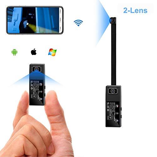 WiFi HD 1080P Mini cámara espía 2 Lente portátil cámara Oculta usable cámara del Cuerpo de la niñera para la aplicación móvil con Alarma de detección de Movimiento ( Color : No Memory Card )