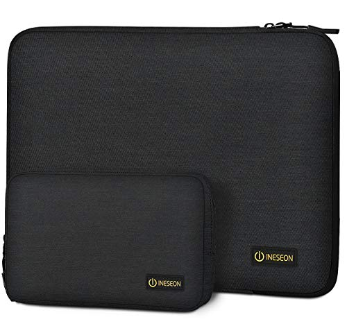I INESEON Laptop Sleeve Case for 13-Inch MacBook Air/Pro, 13.3'' HP Dell Lenovo Notebook, 13.5'' Surface Laptop 2/3, Shockproof Protective Cover with Accessory Pouch, Black