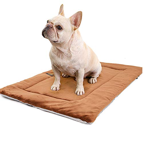 PJDDP Dog Bed Mat Soft Crate Pad Super Soft Dog Mat Pad Machine Washable Dog Bed Anti-Slip Pet Sleeping Mattress Cushion for Large Medium Small Dogs And Cats Kennel Pad,Brown,L