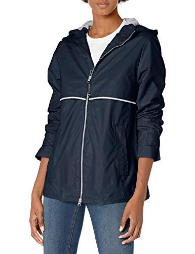 Charles River Apparel womens New Englander Wind & Waterproof Rain Jacket, True Navy Reflective, L