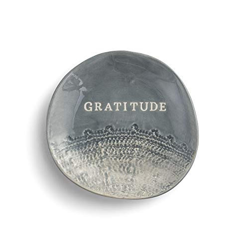 Gratitude Pewter Grey 4 x 4 Stoneware Ring Dish Treasure Keeper Jewelry Holder