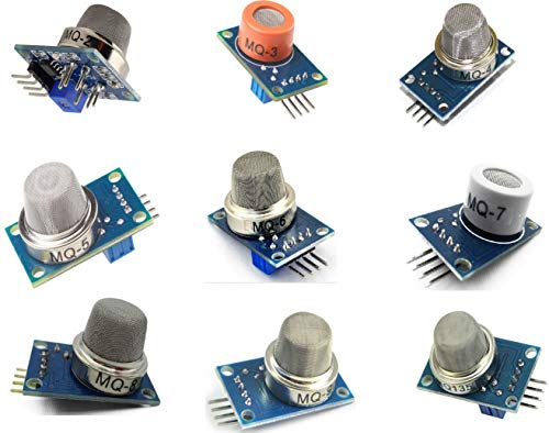 TECNOIOT 9 Piezas Módulo de Sensor de detección de Gas MQ-2 MQ-3 MQ-4 MQ-5 MQ-6 MQ-7 MQ-8 MQ-9 MQ-135 Kit de Inicio de Sensor de Gas Módulo de Sensor