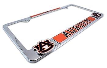 Premium Mascot License Plate Frame w/ Dual 3D Logos  Auburn