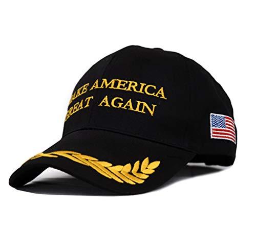 Ketamyy Make America Great Again Cap Mütze MAGA Basecap Stickerei Amerikanische Flagge Wahl 2020 Fan Geschenke Baseball Kappe 1# Schwarz