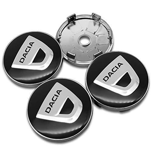 XINRUIBO 4pcs 60 mm de Aluminio ABS Cubo de Rueda tapacubos Centro Tapas EmblemApply de Insignia for Dacia Duster Logan Sandero Stepway lodgy Mcv 2 Dokker Tapas para Llantas (Color : A)