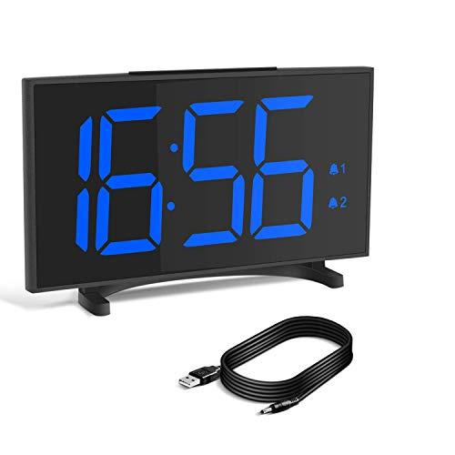 YISSVIC Sveglia Digitale da Comodino 6.5 Pollici Schermo LED Luminosità Regolabile 6 Livelli di Volume Regolabile Funzione Snooze 12/24 Ore Cavo USB Incluso