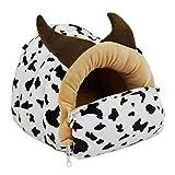 LeerKing Petit Animal Hamac Mignon Lit de Nid Suspendu pour Hamster Cage Polaire Balançoire Jouet pour Rat Chinchilla Hérisson Sucre Planeur Cochon d'Inde Furets bébé, Vache XL