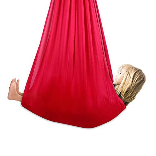Colmanda Amache da Altalena Coccole, Cuddle Hammock Altalena Sedia Amaca Altalena per Terapia Interna, Amaca Coccole Ideale Amaca sensoriale Terapia Interna Swing per Bambini e Ragazzi (Rosso-1M)
