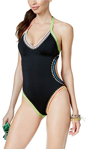 Bar III Be Weave It Monokini One-Piece High-Leg Swimsuit Size Large Black