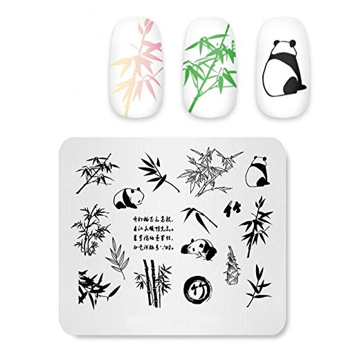 Plaques d'estampage des ongles Panda Bamboo Image Template Manucure Nail Stencil Tool Template Stencils for Nails