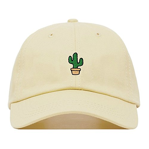 Cactus Dad Hat, Embroidered Baseball Cap, 100% Cotton, Unstructured Low Profile, Adjustable Strap Back, 6 Panel, One Size Fits Most (Multiple Colors) (Beige)