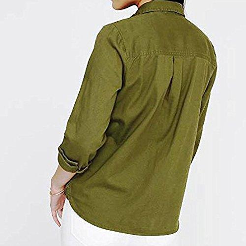 C.Cozami Women's Casual Shirt (MC088M_Olive Green_Medium)