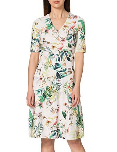 Gerry Weber Womens Kleid Gewirke Dress, Off White Ligh Lime Aloe, 40