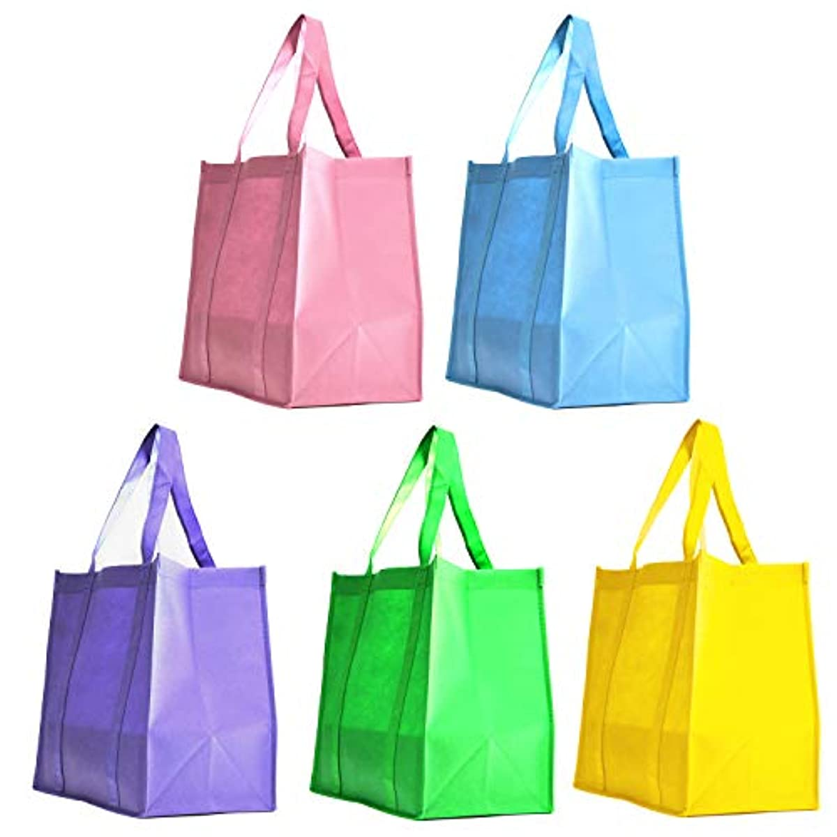 [ 5 Pack ] 5 Assorted Color Party Favor Gift Bags Non-Woven Polypropelyne Grocery Shopping Promotional Tote Bags for Birthday, Wedding Giveaway, Church Easter Goodie Bags (Soft Spring, 5 Pack)