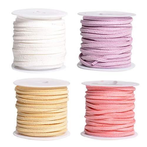 SUPVOX 4PCS 5M Cordón de cordón de Cuero Plano Hilo de cordón de Gamuza sintética Cadena para el Collar de la Pulsera Joyería de Abalorios DIY Hacer artesanía (Blanco, Beige, Rosa, púrpura Claro)