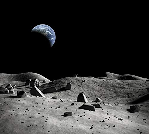 Lunar Landscape Wallpaper Earth 3D Stereoscopische Wallpaper Universe Objects Harbert Telescope HD Fotografie Grote Fresco's 350×245cm