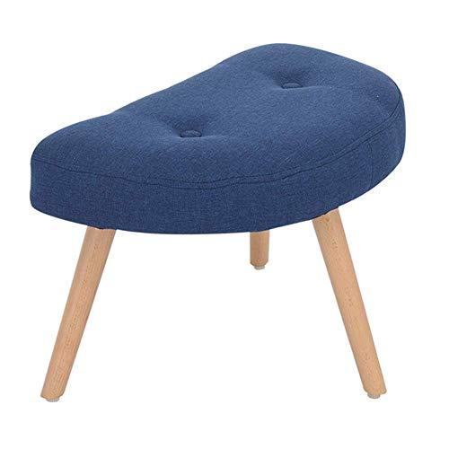 JXJ Taburete de sofá con cambio creativo para zapatos, taburete nórdico, de madera maciza, pequeño banco, tocador, multifunción, para el hogar, color azul real, tamaño: forma de media luna