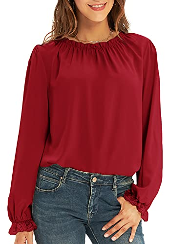 Women's Chiffon Blouses Lace Casual Loose Long Sleeve Tops Shirts Vaction Dressy Fit Wine Red L