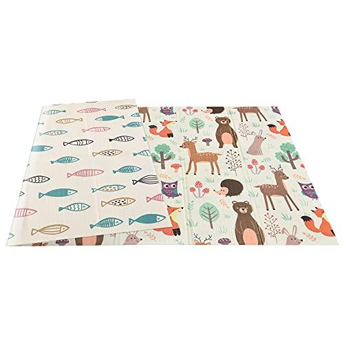 HOMCOM Tappeto Morbido per Bambini Antiscivolo, Reversibile Animali e Pesci, Pieghevole con Borsa di Trasporto, Copertura 3㎡, Multicolore