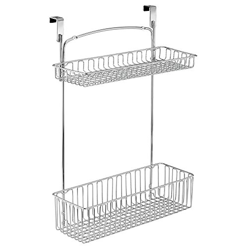 InterDesign Classico Over the Cabinet Kitchen Storage Organizer Basket for Aluminum Foil, Sponges, Cleaning Supplies - 2-Tier, Chrome