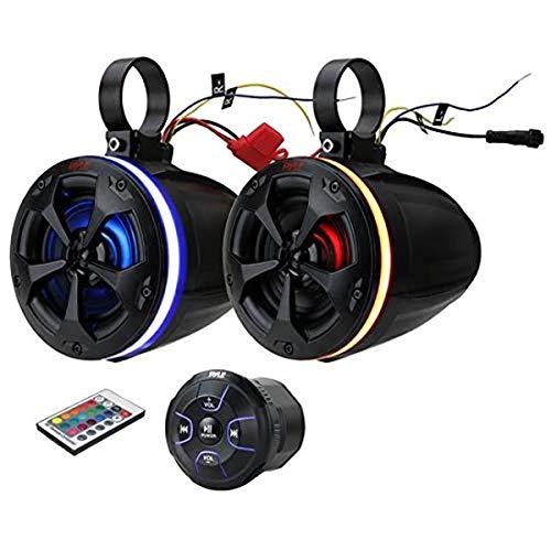 "2-Way Waterproof Off Road Speakers - 4"" 800W Active Passive Marine Grade Wakeboard Tower RGB Speakers System w/Bluetooth Controller, Full Range Stereo Speaker for ATV/UTV Jeep Boat - Pyle PLUTV48KBTR"