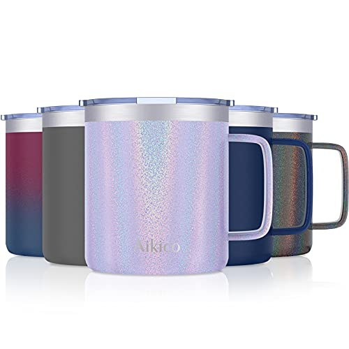 Coffee Mug with Handle, Aikico 14oz Stainless Steel Insulated Coffee Travel Mug Tumbler with Lid, Double Wall Vacuum Coffee Cup for Cold Drinks & Hot Beverages, Rainbow Lavender Purple