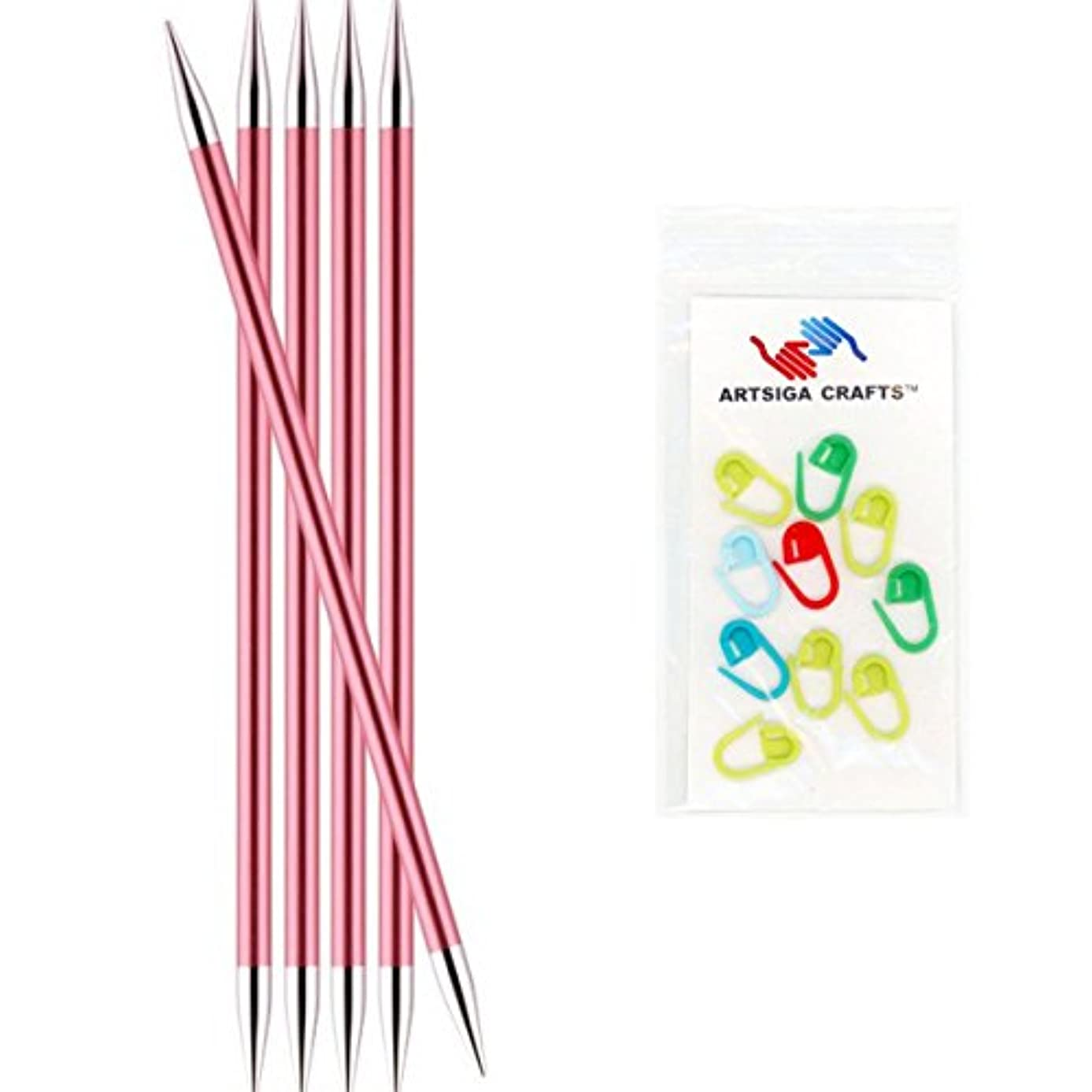 Knitter's Pride Zing Double Pointed Knitting Needles 6in. Size US 10.5 (6.5mm) Bundle with 10 Artsiga Crafts Stitch Markers 140014