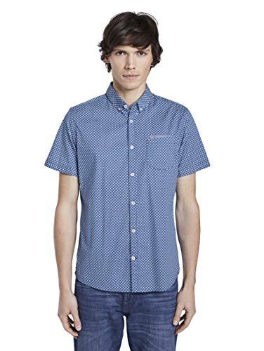 TOM TAILOR Herren Blusen, Shirts & Hemden Gemustertes Kurzarm-Hemd mit Brusttasche Blue by White Navy dot Design,XXL