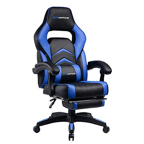 Gaming Chair with Footrest,Computer Chair Lumbar Support Ergonomic Office Chair, Gaming Chair 360°-Swivel for Office or Gaming Blue