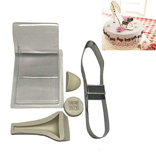 UniqStore, kit con stampo per fondente a forma di scarpa con tacco alto per torta nuziale, decorazione in silicone, dimensioni grandi