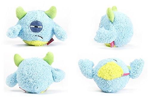 Toypalace24 Quietschball für Hunde im lustigen Monster-Hundeball-Design/Weiches Wurfspielzeug zum apportieren für große & kleine Hunde/Farbe: Blau 2 / Größe nach Wahl