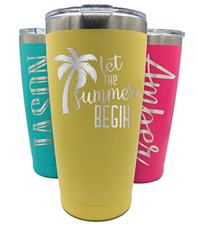 Personalized Tumbler With Lid - 20 oz - Choose Your Design - Vacuum Insulated Travel Coffee Mug - Stainless Steel Double Wall (Yellow)