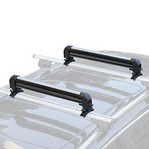 Leader Accessories Car Ski Snowboard Roof Racks, 2 PCS Universal Ski Roof Rack Carriers Snowboard Top Holder, Lockable Fit Most Vehicles Equipped Cross Bars - Deluxe