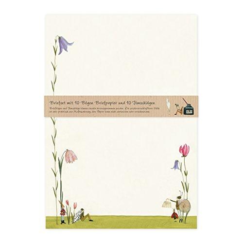 Briefpapier Set edel mit Umschlägen, 10 Seiten DIN A4 mit Blumen, Natur, Nostalgie, Retro, cremefarben, Blütenschnecke